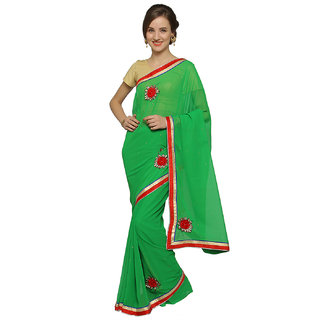 florence clothing company Green Georgette Embroidered Saree With Blouse