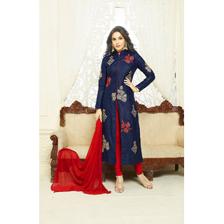 LADYVIEW NAVY BLUE, BEIGE  RED EMBROIDERED JAMA GLACE COTTON STRAIGHT SUIT (Unstitched)