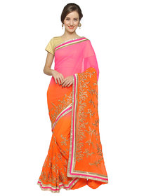 florence clothing company Orange & Pink Chiffon Embroidered Saree With Blouse