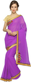 florence clothing company Purple Georgette Embroidered Saree With Blouse