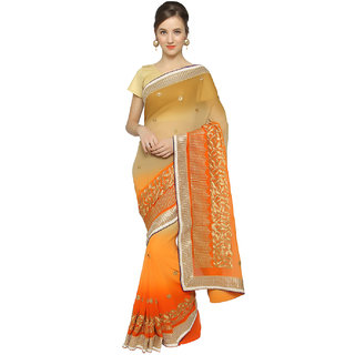 Meia Beige Chiffon Embroidered Saree With Blouse