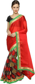 florence clothing company Red Jacquard Embroidered Saree With Blouse