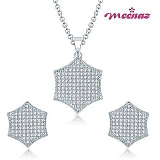 MEENAZ ABSOLUTE BEAUTY MICRO PAVE SETTING RHODIUM PLATED CZ PENDANT SET PT105