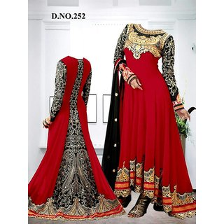 Different Style Anarkali Dresses  Red And Black Color