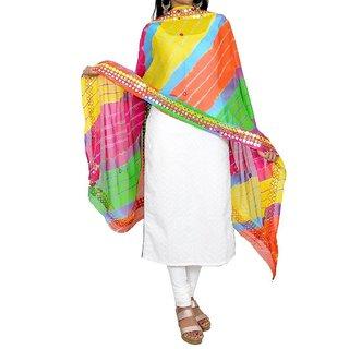 Famacart Ethnic Wear Women's Leheriya Dupatta Wrap Scarf Mirror Work