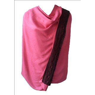 Fashion Plain Viscose Pashmina Scarf with Lace from VOSTRO # PI-VOS-03957