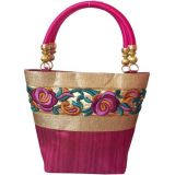 Moksh Pink Embroidered Handbag