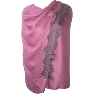 Fashion Plain Viscose Pashmina Scarf with Lace from VOSTRO # PI-VOS-03920