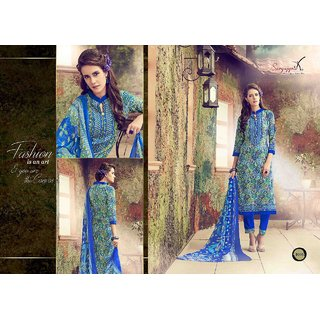 Suryajyoti Cotton Dress Materials Printed With Chiffon Duptto (Unstitched)