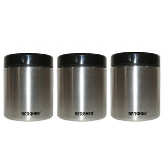 BERGNER STAINLESS STEEL CANISTER SET OF 3PCS BG 5014