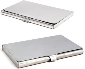 Stealodeal Heavy Stealodeal Steel With Silver Stainless Steel 20 Card Holder  (Set of 2, Silver)