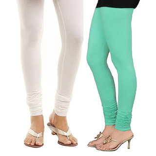Stylobby White and Green Viscose pack of 2 Leggings