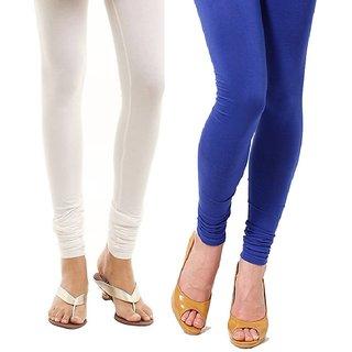 Stylobby White and Blue Viscose pack of 2 Leggings