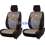 Car Seat Covers Printed Brown For Mahindra Verito + Free Dvd Holder