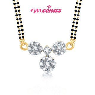 MEENAZ TRADITIONAL WATI  GOLD AND RHODIUM PLATED CZ MANGALSUTRA PENDANT MSP 702