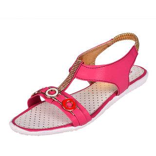 Somugi Women Pink Flat Sandals