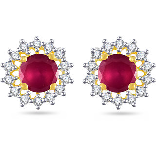 Vk Jewels Red Stone Gold And Rhodium Plated Alloy Stud Earrings For Women S