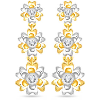 VK Jewels Three Flowers Gold and Rhodium Plated Alloy Drop Earrings for Women & Girls -ER1438G [VKER1438G]