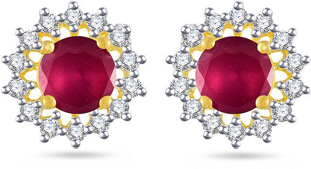1f887e5c2191e VK Jewels Red Stone Gold and Rhodium Plated Alloy Stud Earrings for Women &  Girls -ER1417G [VKER1417G]