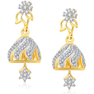 VK Jewels Comely Gold And Rhodium Plated Jhumki -ER1264G [VKER1264G]