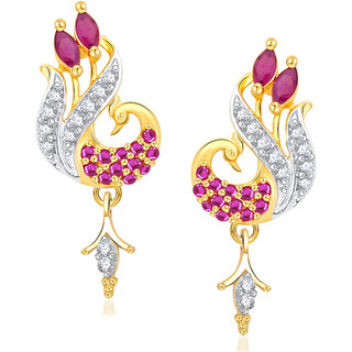 Vk Jewels Red Stones Pea Gold And Rhodium Plated Alloy Drop Earrings For Women S