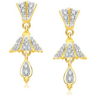 VK Jewels Circular Gold And Rhodium Plated Alloy Jhumki Earrings for Women & Girls -ER1392G [VKER1392G]