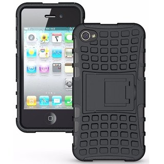 Avzax Dual Layer High Protection Kick Stand Armor Hybrid Bumper Back Case Cover For   5 - (Black)