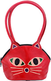 Zint Genuine Leather Red Cat Face Design Shantiniketan Handbag Kids Purse