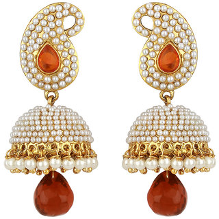 Styylo Fashion Exclusive Golden Maroon White Earrings Set /S 198