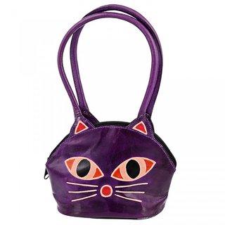 Zint Genuine Leather Purple Cat Face Design Shantiniketan Bag