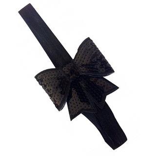 AkinosKIDS Black sparkly/glitter sequin bowknot elastic Newborn Soft Headband