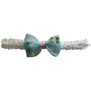 AkinosKIDS bowknot Polka dot lace gauze light blue newborn Soft Headband
