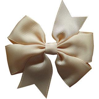 AkinosKIDS BabyGirl Grosgrain Ribbon Bow Cream HairClip.Kids Hair Accessory
