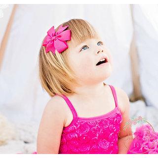 AkinosKIDS BabyGirl Grosgrain Ribbon Bow Pink HairClip.Kids Hair Accessory