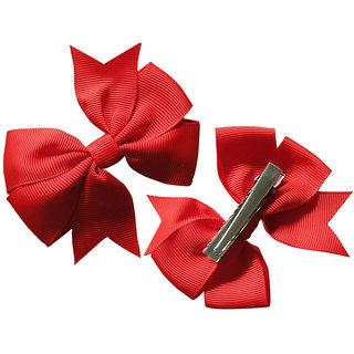 AkinosKIDS BabyGirl Grosgrain Ribbon Bow Red HairClip.Kids Hair Accessory