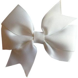 AkinosKIDS BabyGirl Grosgrain Ribbon Bow White HairClip.Kids Hair Accessory