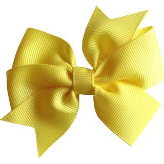 AkinosKIDS BabyGirl Grosgrain Ribbon Bow Yellow HairClip.Kids Hair Accessory