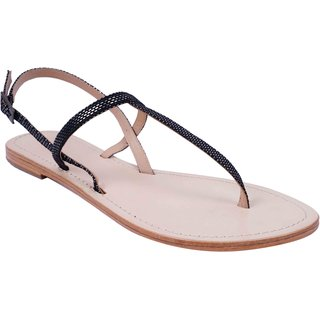 4a8354859d27 Black and Silver Colour Women s Leather Flat Sandals - SWANSIND