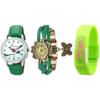 Combo Of 3 Different Green Strap Watches For Men , Wome