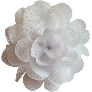 AkinosKIDS BabyGirl Lovely Chiffon Rose White HairClip.Kids Hair Accessory