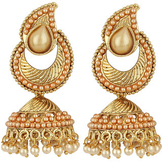Jewels Guru Exclusive Golden White Earrings.  m-78