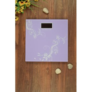 Abstract Lavender Tempered Glass Personal Weighing Machine