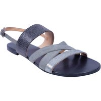 Grey And Black Colour Women's Leather Flat Sandals - SW