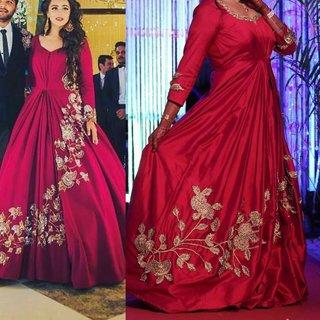 Sohum Creations Fashion Women's Silk Wedding Gown (Red  Anarkali)