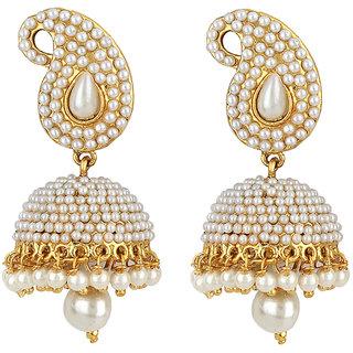 Jewels Guru Exclusive Golden White Earrings.  m-85