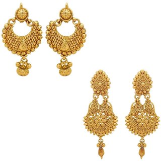 Gold Plated Combo Of 2 Dangle  Drop Earrings For Girls And Women