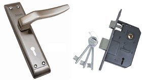 ATOM Linus Mortice Door Handle Set with Double Action Lock 3 Keys SS Satain Finish
