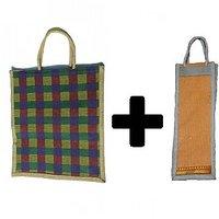 Combo Of Big Size Jute Bags / Bottle Jute Bag / Lunch B