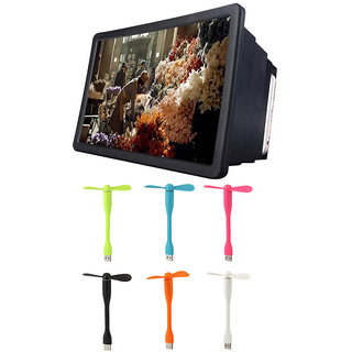F2 3D HD Mobile Phone Folding Screen Magnifier Stand with Flexible USB Fan