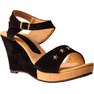 Hansx Women's Black Wedges